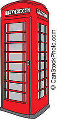 Red phone booth. Vector illustration.