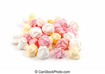 Isolated meringues - pink, yellow and white meringue...