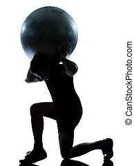 man workout holding fitness ball - one n man workout holding...