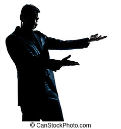 silhouette man portrait showing pointing empty copy space