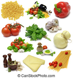 Italian Cooking Sampler - Selection of food stuffs used in...