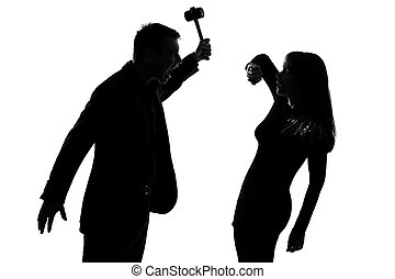 one couple man holding hammer and woman domestic violence -...