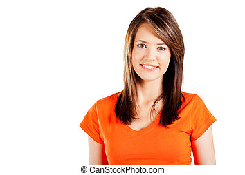 cute teen girl half length portrait on white background