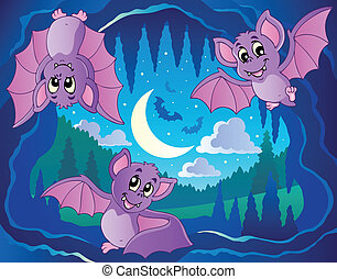 Bats theme image 2 - vector illustration.