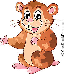 Cute cartoon hamster - vector illustration