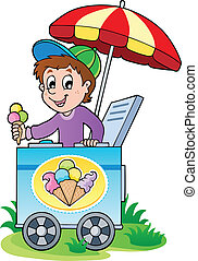 Happy ice cream man - vector illustration