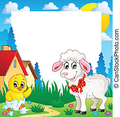 Frame with Easter theme 4 - vector illustration