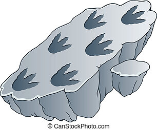 Rock with dinosaur footprints - vector illustration.