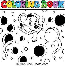 Coloring book with mouse 2 - vector illustration.