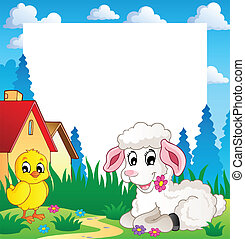 Frame with Easter theme 3 - vector illustration.