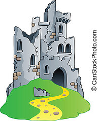 Castle ruins on hill - vector illustration
