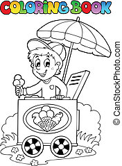 Coloring book with ice cream man - vector illustration.