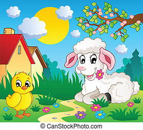 Scene with spring season theme 4 - vector illustration