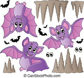 Cartoon bats collection - vector illustration.