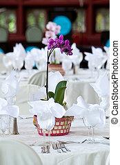 orquídea, centro de mesa, boda, mesas