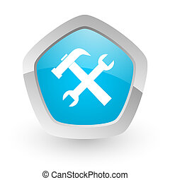 tools icon - 3d blue icon on white background with shadow...
