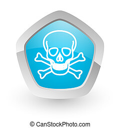 skull icon - 3d blue icon on white background with shadow...