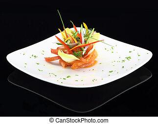 gourmet, prato, fumado, salmão, legumes
