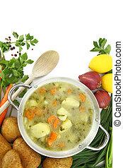 vegetal, ao redor, pote, aquilo, sopa, misturado, fresco, legumes