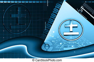 Maths sign - Digital illustration of maths sign in isolated...