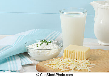 Dairy Products Include Milk, Cottage Cheese And Swiss Cheese...