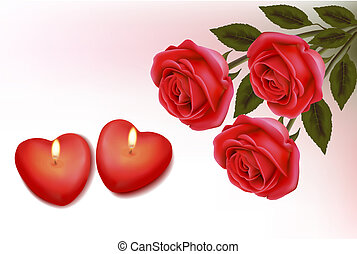 Valentine background. Red roses and two heart candles....
