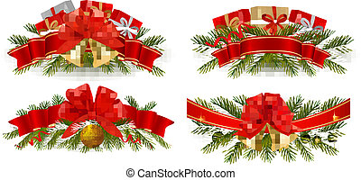 Set of holiday christmas garland