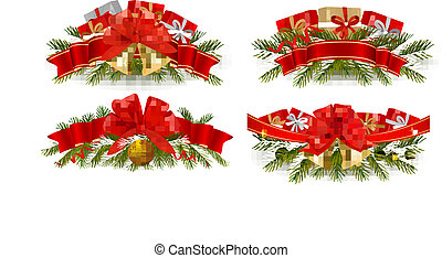 Set of holiday christmas garlands with red ribbons. Vector.