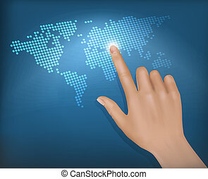 Finger touching world map on a touch screen. Vector