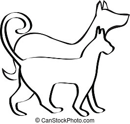 Cat and dog logo - Cat and dog walking together