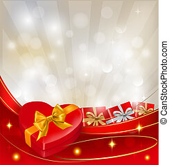 Valentine`s day background with red gift box with bow and...