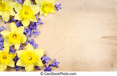 Hyacinth and daffodil on a wooden background - Hyacinth and...