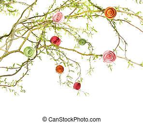 papier, Róże, Gałęzie
