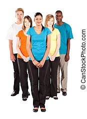 group of multiracial people isolated