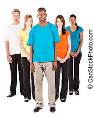 group of young diverse people on white background