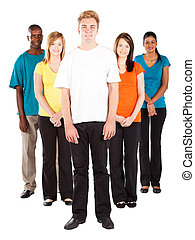 young multicultural people on white background