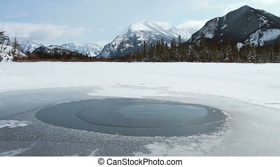 Mount Rundle and water spring in Vermilion Lakes, Banff