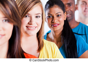 portrait of group young multiracial people - closeup...