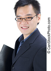 asian business man with a folder