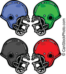 Football Helmets Cartoon Vector Illustration - Collection of...
