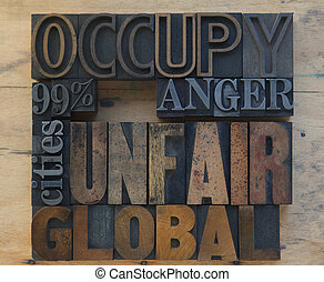 occupy 99 - words related to the Occupy Wall Street movement...