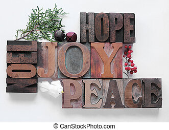 hope, joy, peace, noel - words associated with Christmas in...