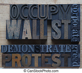 corporate greed - words associated with the Occupy Wall St....