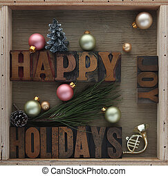 happy holidays with decorations - happy holidays words with...