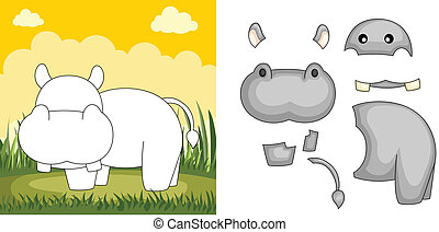 Hippo puzzle - A vector illustration of a hippo puzzle