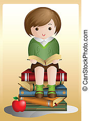 Young student reading - A vector illustration of a young...