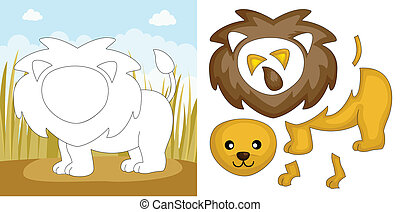 Lion puzzle - A vector illustration of a lion puzzle
