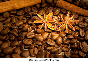 coffee beans and spices - cinnamon and anisetree