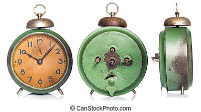 vintage green alarm clock set isolated on white