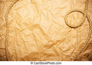 rope on aged yellow paper